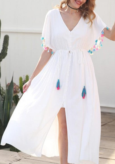 White Tassel Drawstring Lace-Up Buttons Cut Out Slit V-neck Flowy Bohemian Maxi Dress