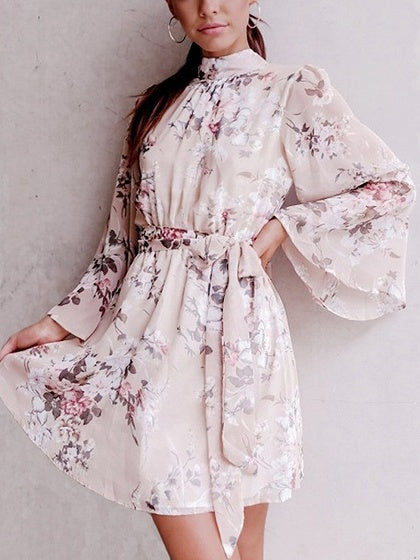 Beige Tie Waist Floral Print Open Back Flare Sleeve Mini Dress
