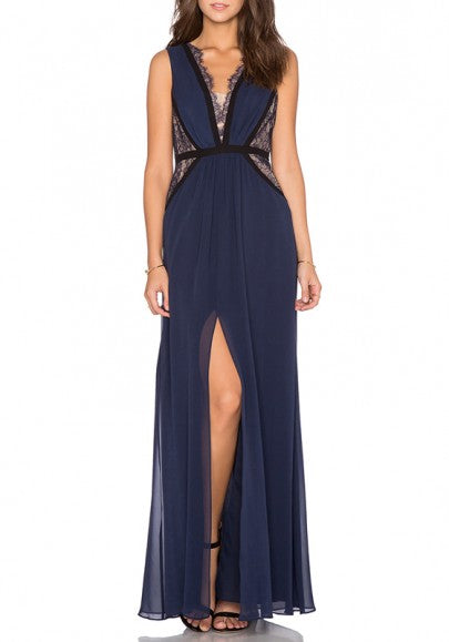 Blue Patchwork Lace Draped V-neck Sleeveless Prom Evening Party Maxi Dress