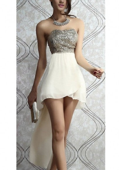 Beige Patchwork Bandeau Sequin Sleeveless Party Maxi Dress