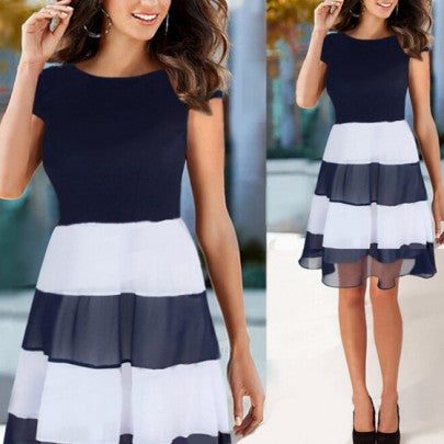 Black Striped Ruffle Round Neck Fashion Midi Dress