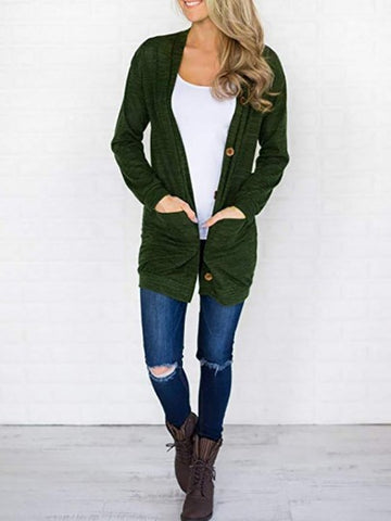 Dark green Single Breasted Pockets Long Sleeve V-neck Comfy Casual Cardigan Sweater