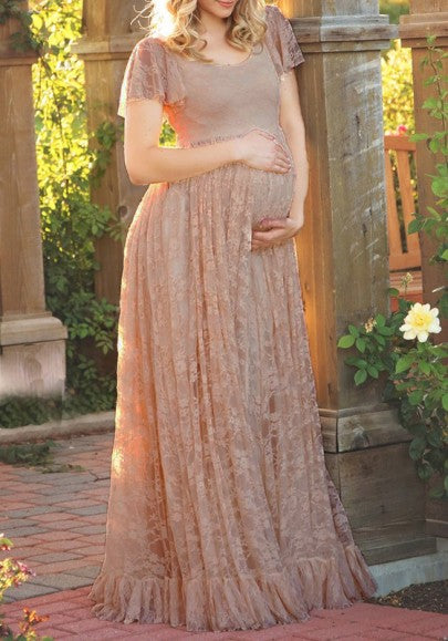Coffee Patchwork Lace Draped Ruffle Round Neck Short Sleeve Maternity Maxi Dress