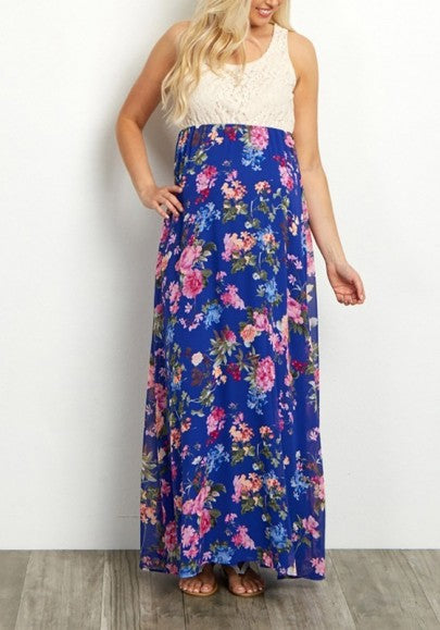 Blue Floral Print Round Neck Sweet Maxi Dress