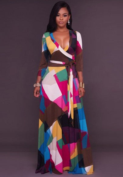 Rose Carmine Color Block Print Sashes Deep V-neck 3/4 Sleeve Party Maxi Dress