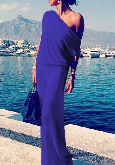Purplish blue Round Neck Short Sleeve Maxi Dress