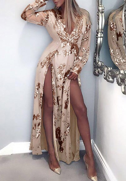 Golden Patchwork Sequin Double Slit Deep V-neck Long Sleeve Party Maxi Dress