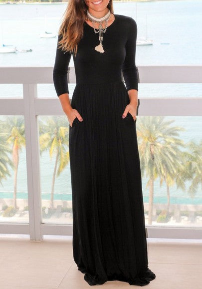 Black Pockets Draped Long Sleeve Floor Length Casual Maxi Dress