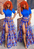 Blue Patchwork Geometric Print Slit Short Sleeve Vintage Maxi Dress