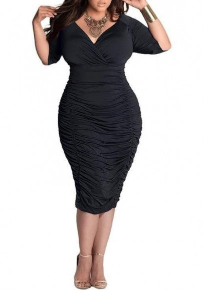 Black Plain Irregular Deep V-neck Bodycon Plus Size Club Prom Ruched Dress