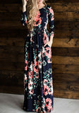 Navy Blue Flowers Print Pleated Long Sleeve High Waisted Bohemian Maxi Dress