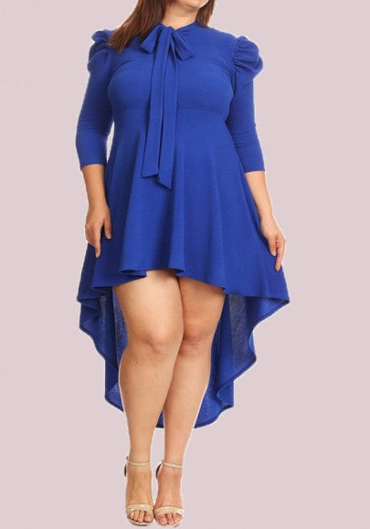 Royal Blue Irregular Bow Plus Size Swallowtail 3/4 Sleeve Homecoming Cute High-low Midi Dress