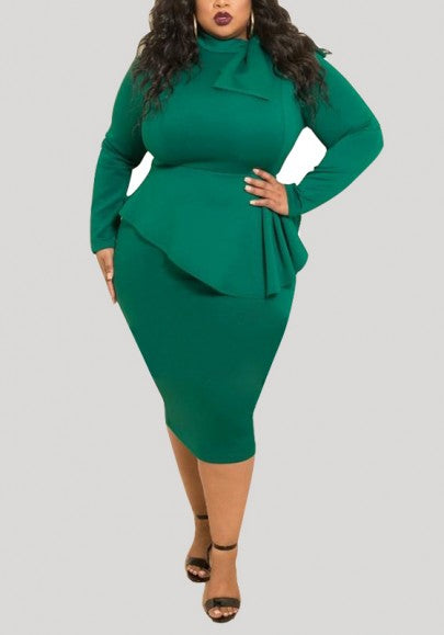 Green Draped Peplum Bowknot St. Patrick's Day Long Sleeve Plus Size Party Midi Dress