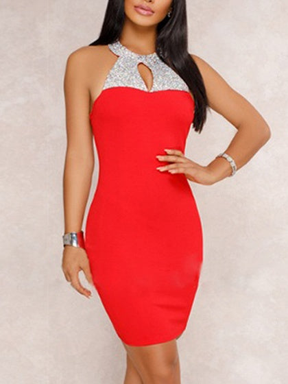 Red Contrast Halter Open Back Bodycon Mini Dress
