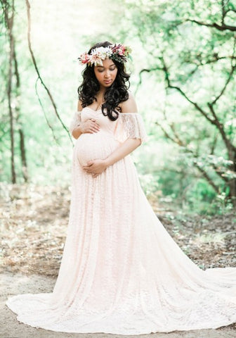 White Bandeau Lace Pleated Off Shoulder Floor Length Elegant Maternity Maxi Dress