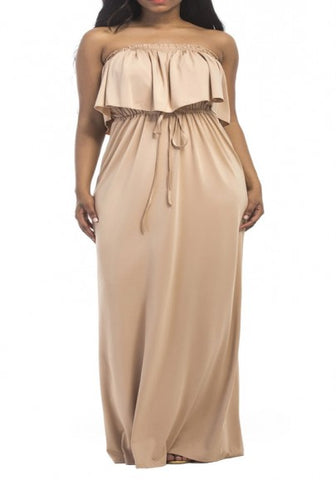 Apricot Bandeau Drawstring Ruffle Off Shoulder Plus Size Bohemian Maxi Dress