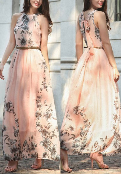 Pink Floral Draped Round Neck Sleeveless Maxi Dress