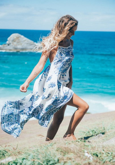 Blue-White Floral Print Square Neck Spaghetti Strap Backless Bohemian Maxi Dress