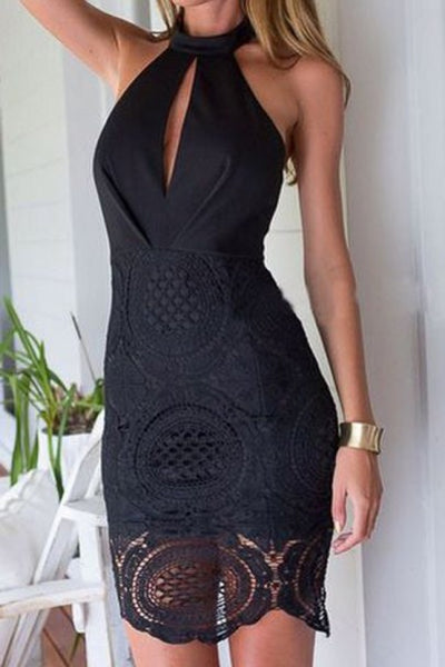 Black Patchwork Lace Hollow-out Backless Halter Neck Slim Elegant Chiffon Midi Dress