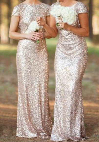 Rose Golden Plain Sequin Bridesmaid V-Back Neck Short Sleeve Maxi Dress