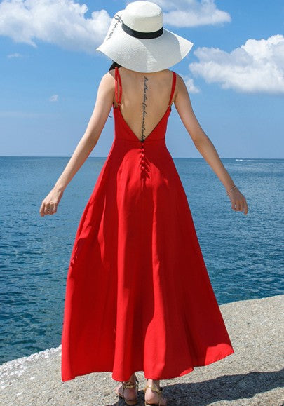 Red Draped Buttons Spaghetti Strap Backless V-neck Bohemian Maxi Dress