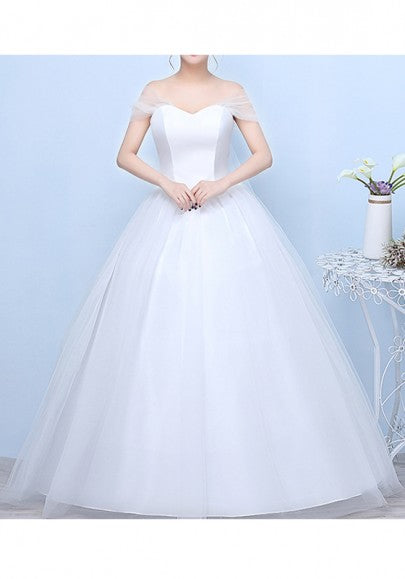 White Patchwork Boat Neck Cross Back Backless Grenadine Wedding Gowns Tutu Maxi Dress