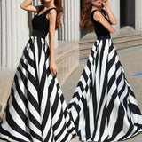 Black And White Striped Flowing Round Neck Party Elegant Maxi Dress