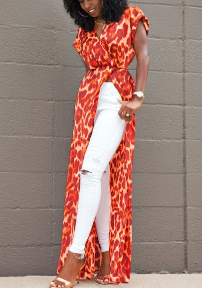 Red Leopard Slit V-neck Short Sleeve Bohemian Maxi Dress