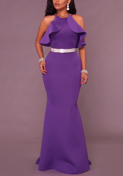Purple Ruffle Zipper Spaghetti Strap Mermaid Backless Round Neck Banquet Party Maxi Dress