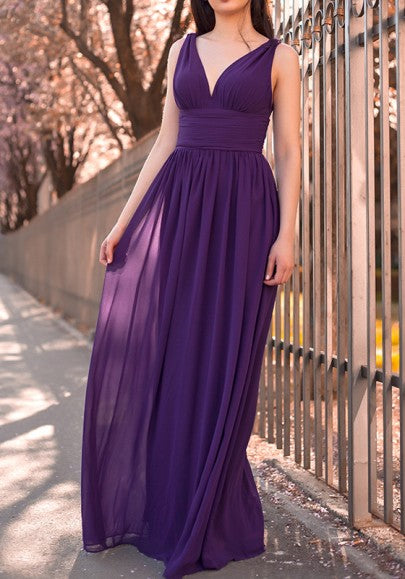 Purple Zipper Double-deck Pleated Epaulet Backless Elegant Maxi Dress