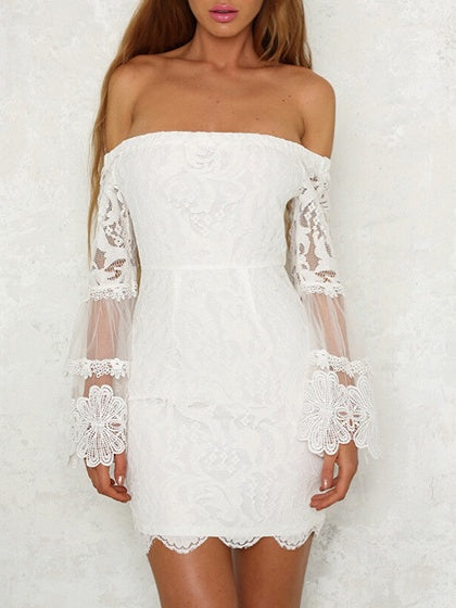 White Off Shoulder Flare Sleeve Lace Bodycon Mini Dress
