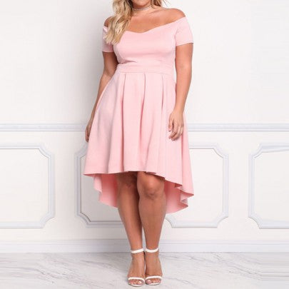 Pink Pleated Irregular Swallowtail High-low Off Shoulder Plus Size Elegant Midi Dress
