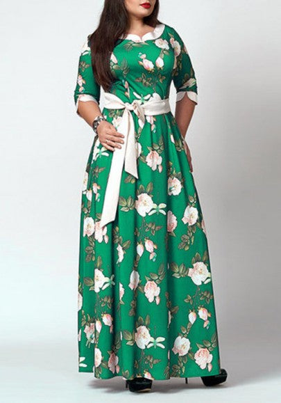 Green Floral Print Sashes Draped Plus Size Elbow Sleeve Elegant Maxi Dress