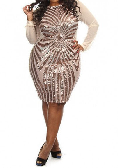 Splicing Oversized Geometric Sequin Grenadine See-through Bodycon Plus Size Mesh Midi Dress