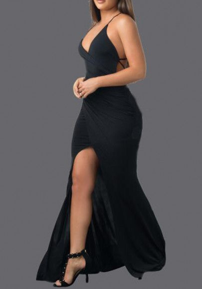 Black Backless Cross Back Spaghetti Strap High Slit Evening Party Maxi Dress