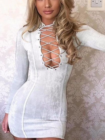 Gray Faux Suede Plunge Lace Up Front Bodycon Mini Dress