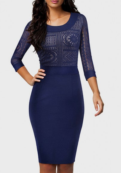 Dark Blue Patchwork Lace Round Neck 3/4 Sleeve Knee Length Midi Dress