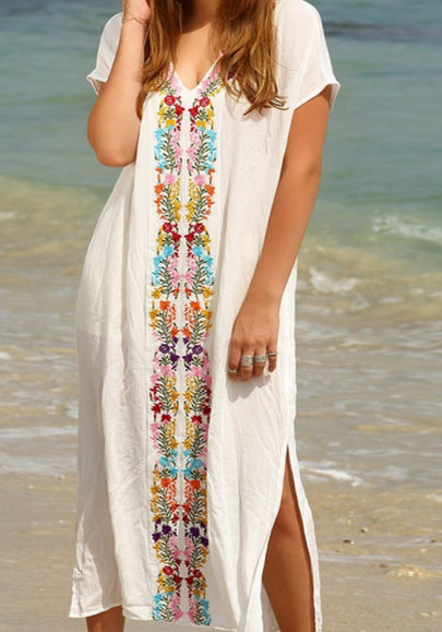 White Bohemian Floral Embroidery Double Slit Deep V-neck Short Sleeve Bohemian Maxi Dress