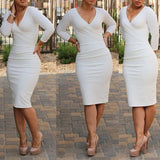 White Plain Skinny Pencil Skirt V-neck Long Sleeve Knee Length Bodycon Party Midi Dress