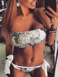 Silver Sequin Embellished Bandeau Bikini Top and Tie Brief Bottom
