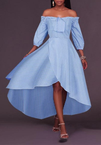 Light Blue Striped Bandeau Irregular Draped Off Shoulder High-low Casual Maxi Dress