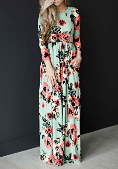 Green Flowers Print Pleated Long Sleeve High Waisted Bohemian Maxi Dress