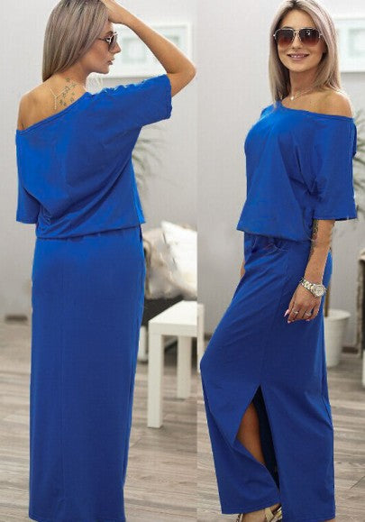 Blue Plain Pockets Side Slit Round Neck Maxi Dress