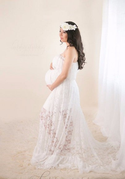 White Lace Bandeau Pleated Boat Neck Off Shoulder Floor Length Maternity Maxi Dress