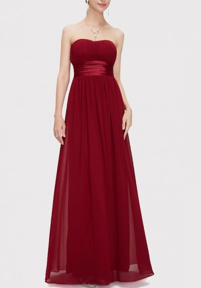 Pleated Bandeau Zipper Backless Bridesmaid Chiffon Maxi Dress