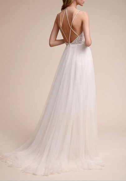 White Patchwork Zipper Lace Cross Back Spaghetti Strap Tulle Wedding Gowns Maxi Dress
