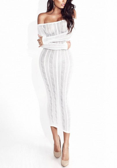 White Bandeau Off Shoulder Bodycon Long Sleeve Party Maxi Dress