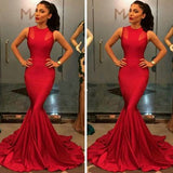 Red Plain Sleeveless Round Neck Mesh Splicing Mermaid Maxi Dress