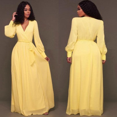 Yellow Plain Draped Sashes Lantern Sleeve A-line Bohemian Maxi Dress