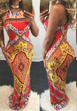 Red Tribal Print Cross Back Backless Spaghetti Strap Bohemian Maxi Dress